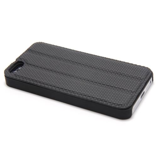 Magnético adsorção Mobile Shell protetora cobrir multifuncional de dobramento titular volta caso auscultadores bobina para iPhone 5 preto