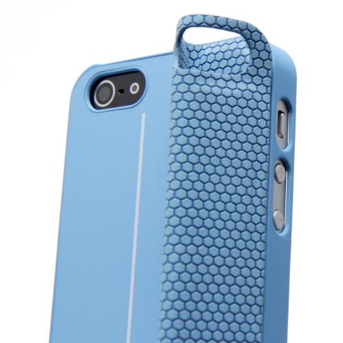 Magnético adsorção Mobile Shell protetora cobrir multifuncional de dobramento titular volta caso auscultadores bobina para iPhone 5 azul