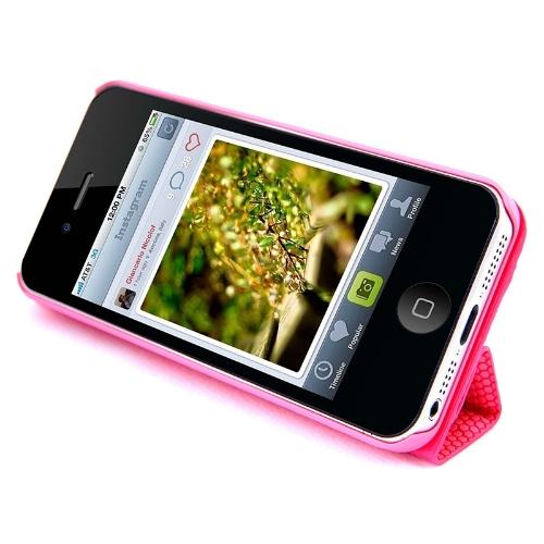 Magnético adsorção Folio Smart Flip Mobile protetora cobrir multifuncional dobradura titular Headphone bobina para iPhone 5 rosa