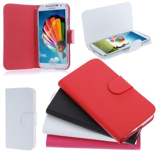 Élégant artificielle cuir Flip Etui Housse pour Samsung Galaxy S4 i9500/i9505 rouge