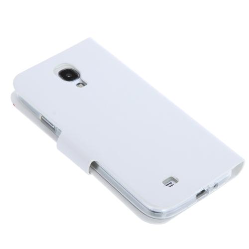 Elegante Artificial Flip caso tampa de couro para Samsung Galaxy S4 i9500/i9505 branco