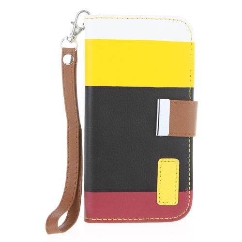 Variopinto portafoglio caso rivestimento in pelle Flip in pelle Stand con supporto di carta per Samsung Galaxy S4 i9500/i9505