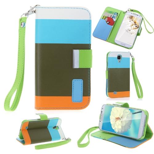 Colorido couro carteira caso Flip Stand tampa de couro com suporte de cartão para Samsung Galaxy S4 i9500/i9505