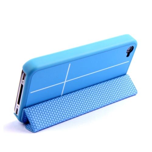 Magnetico adsorbimento Smart protettivo Stand Cover per iPhone 4 4S multi-funzione titolare cuffia Bobbin Winder blu