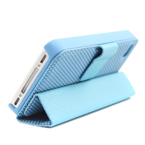 Magnetic Adsorption Folio Smart Flip Case Skin Stand Cover for iPhone 4 4S Multifunctional Holder Headphone Bobbin Winder Blue