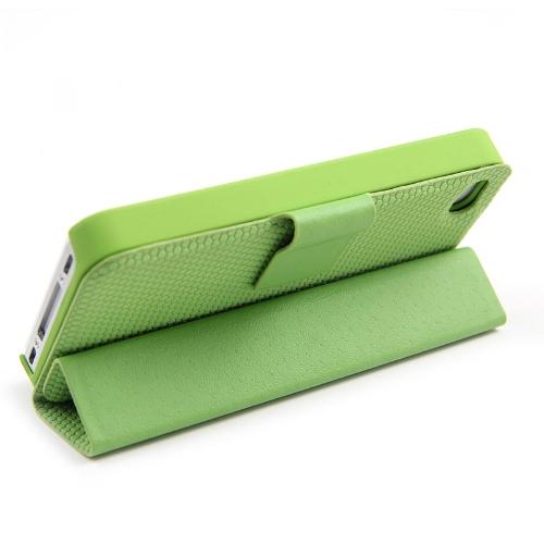 Adsorção Folio Smart Flip caso pele ficar cobertura magnético para iPhone 4 4S multifuncional titular Headphone Bobbin Winder verde