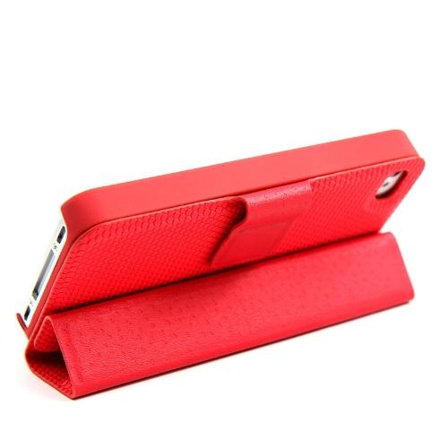 Adsorção Folio Smart Flip caso pele ficar cobertura magnético para iPhone 4 4S multifuncional titular Headphone Bobbin Winder vermelho