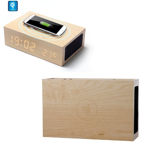 Wooden Qi Wireless Charger Transmitter BT Speaker Alarm Clock for iPhone4/4S Samsung Galaxy S4/S3 Note2 LG Nexus 4/5