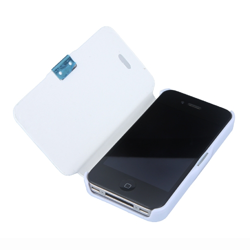 Magnetic Leather Flip Hard Full Case Cover for iPhone 4G 4S White