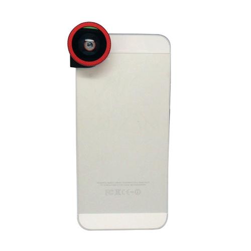 3 em 1 telefone foto câmera lente Fisheye Macro 0,67 X Wide Angle para iPhone 5 de 180° 5S vermelho