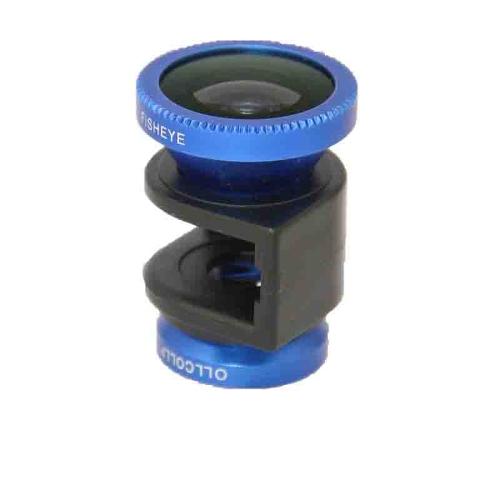 3 em 1 telefone foto câmera lente 180 ° Fisheye Macro 0,67 X Wide Angle para iPhone 4 4S azul
