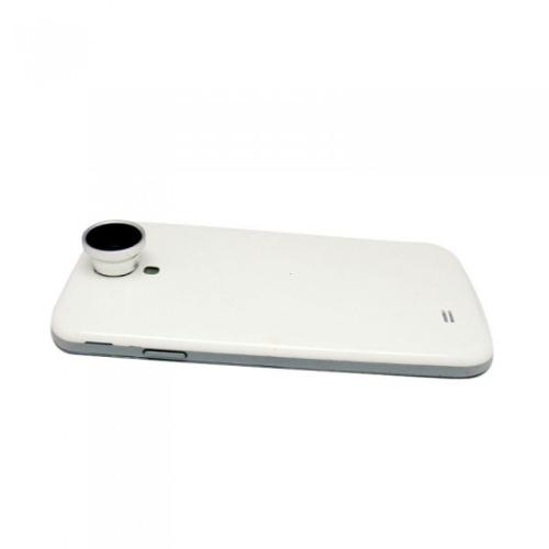 2 em 1 telefone foto câmera lente 0,67 X grande angular + Macro para telemóveis iPhone 5 5S 4S 4 Samsung prata