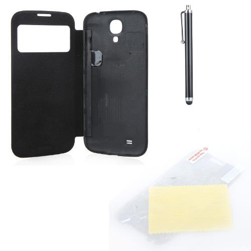 Pen+Screen Film+Flip PU Leather Battery Housing Case Cover Smart Wake View for Samsung Galaxy S4 i9500/i9505 Black
