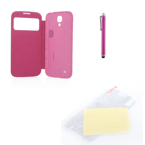 Pen+Screen Film+Flip PU Leather Battery Housing Case Cover Smart Wake View for Samsung Galaxy S4 i9500/i9505 Rose