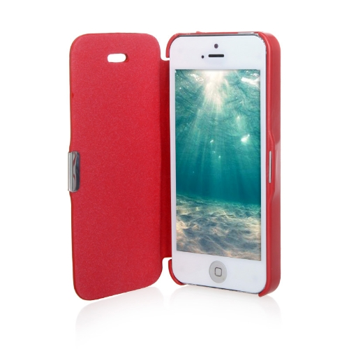 Magnetic Leather Flip Hard Full Case Cover for iPhone 5 5S Red