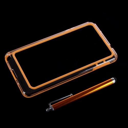 Tampa da caixa TPU + PC colorido quadro pára-choques para Samsung N9000 Galaxy Note3 + Stylus caneta laranja