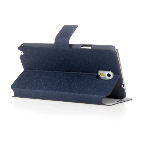 Fashion Wallet Case Flip Leather Stand Cover with Card Holder for Samsung N9000 Galaxy Note3 Dark Blue