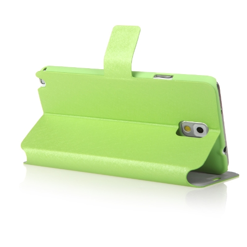 Moda carteira caso couro Flip Stand capa com suporte de cartão para Samsung N9000 Galaxy Note3 verde