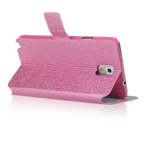 Moda carteira caso couro Flip Stand capa com suporte de cartão para Samsung N9000 Galaxy Note3 Rose