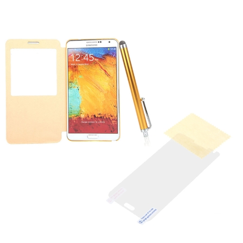 Pen+Screen Film+Flip PU Leather Smart View Battery Housing Case Cover for Samsung N9000 Galaxy Note3 Yellow