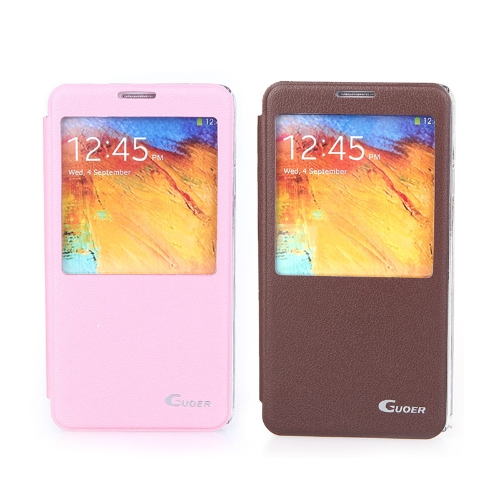 flip smart view pu leather case cover for samsung galaxy note3 n9000 brown