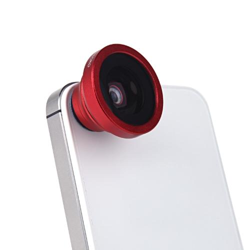 Montagem de 180 graus Fisheye Macro lente magnética para 5S iPhone 5 Galaxy S4 S3 Nota 3 HTC 2 em 1 vermelho