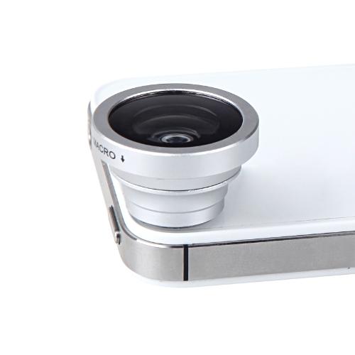Montagem de 180 graus Fisheye Macro lente magnética para 5S iPhone 5 Galaxy S4 S3 Nota 3 HTC 2 em 1 prata