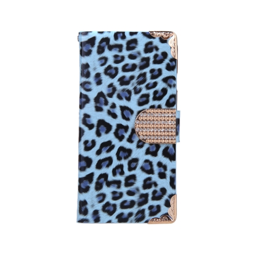 Fashionable Wallet Leopard Case Flip Leather Cover with Card Holder/Strap for Apple iPhone 6 Blue