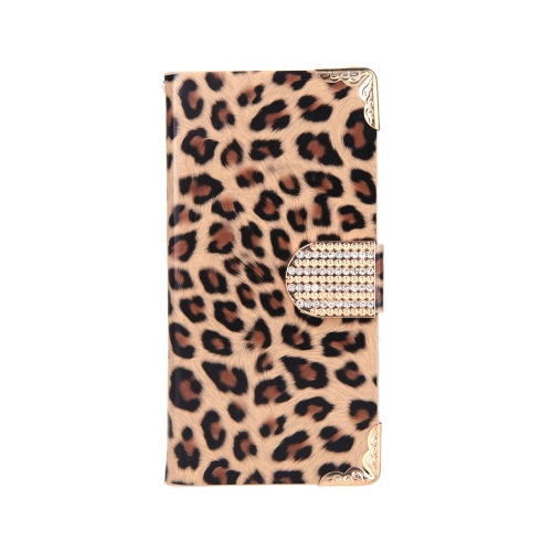 Fashionable Wallet Leopard Case Flip Leather Cover with Card Holder/Strap for Apple iPhone 6 Brown