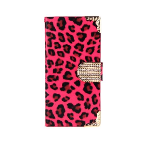 Elegante carteira leopardo caso Flip tampa de couro com cartão titular/cinta para Apple iPhone 6 Rose