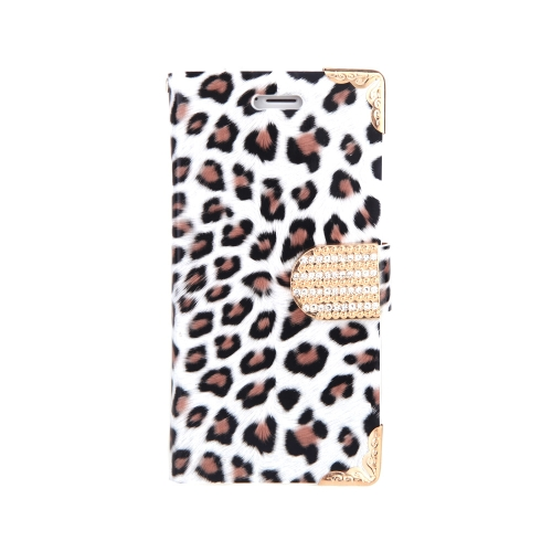 Fashionable Wallet Leopard Case Flip Leather Cover with Card Holder/Strap for Apple iPhone 6 White