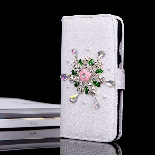 Flip Leather Bling Flower Wallet Case Cover with Stand Card Holder for Apple iPhone 6