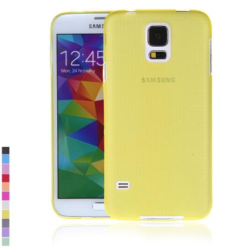 Ultra-fina PC volta caso cobrir casca protetora para Samsung Galaxy S5 i9600 amarelo
