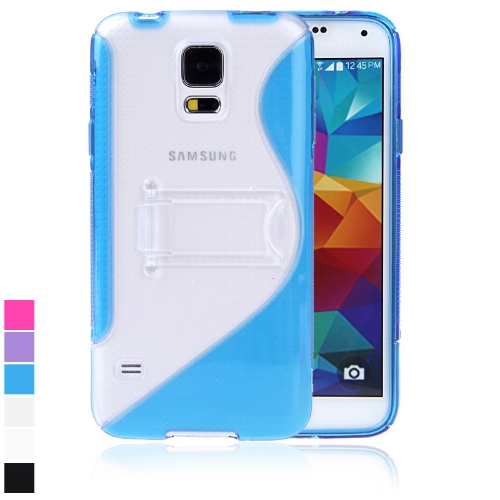 Protective Back Case Cover Stand for Samsung Galaxy S5 i9600 TPU S-style Blue