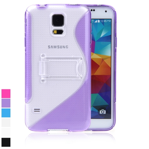Protective Back Case Cover Stand for Samsung Galaxy S5 i9600 TPU S-style Purple