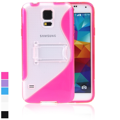 Protective Back Case Cover Stand for Samsung Galaxy S5 i9600 TPU S-style Rose