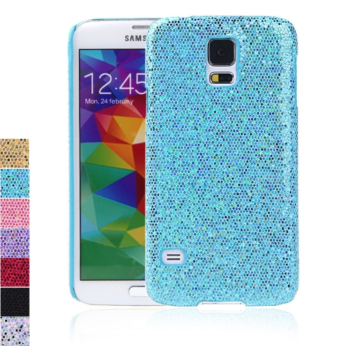 PC Hard Mobile Phone Glitter Back Case Shiny Bling Shell for Samsung Galaxy S5 i9600 Blue