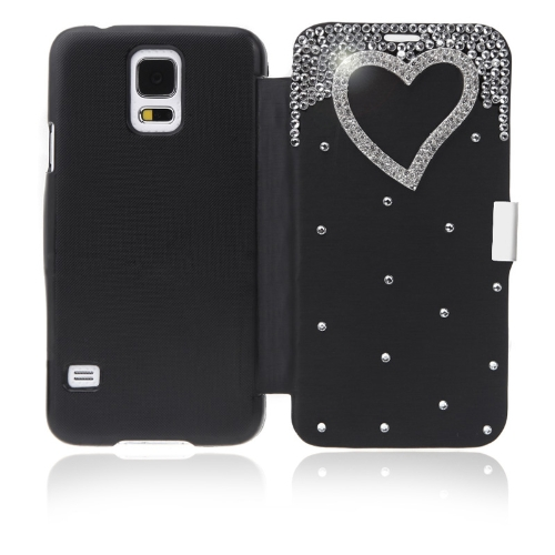 Flip Bling Flower Case Cover PU Leather for Samsung Galaxy S5 i9600 Black