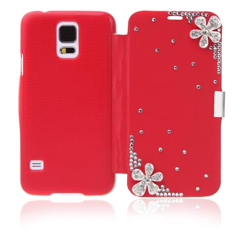 サムスン ギャラクシー S5 i9600 赤のキラキラ花ケース カバー PU レザーを反転します。