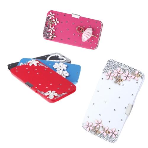 Flip-Bling flor caso cobrir PU de couro para Samsung Galaxy S5 i9600 Rose