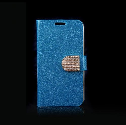 磁気財布ケース フリップ レザー スタンド カバー サムスン ギャラクシー S5 i9600 青のカード ホルダー付き