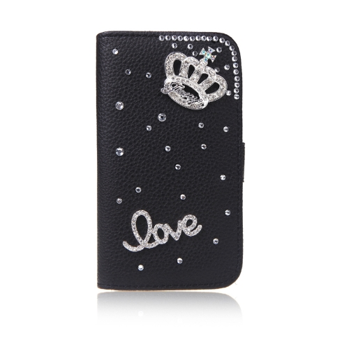 Bling Flower Wallet Leather Flip Case Cover Stand with Card Holder for Samsung Galaxy S5 i9600 Black