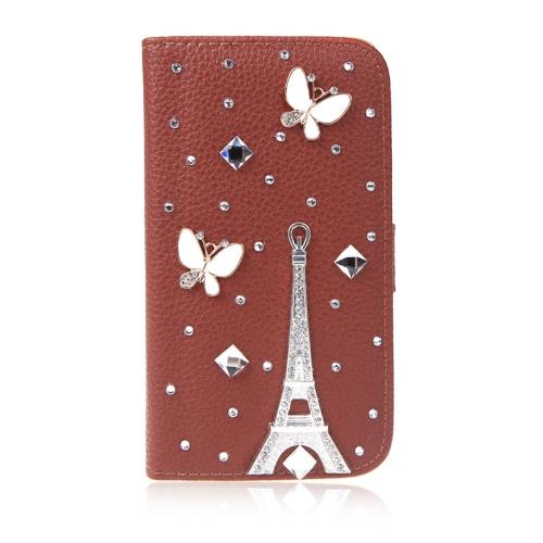 キラキラ財布革フリップ ケース カバー花台サムスン ギャラクシー S5 i9600 ブラウン用カード ホルダー付き