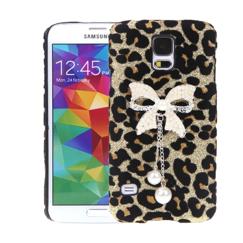 PC Hard Back Case Protective Shell Leopard Villus Bling Pendant for Samsung Galaxy S5 i9600