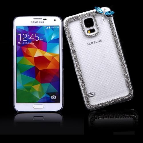 PC dur retour cas protecteur Shell Bling diamant strass cristal pour Samsung Galaxy S5 i9600 Dragonfly