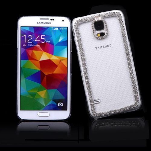 PC Hard volta caso protetor Shell Bling strass cristal de diamante para Samsung Galaxy S5 i9600 Bowknot