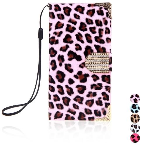 Moda carteira leopardo caso Flip tampa de couro com cartão titular/cinta para Samsung Galaxy S5 i9600 rosa