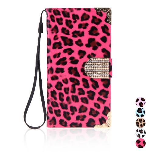 Moda carteira leopardo caso Flip tampa de couro com cartão titular/cinta para Samsung Galaxy S5 i9600 Rose