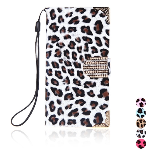 Fashion Wallet Leopard Case Flip Leather Cover with Card Holder/Strap for Samsung Galaxy S5 i9600 White