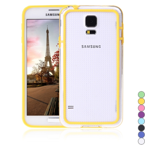 Colorful TPU+PC Bumper Frame Case Cover for Samsung Galaxy S5 i9600 Yellow